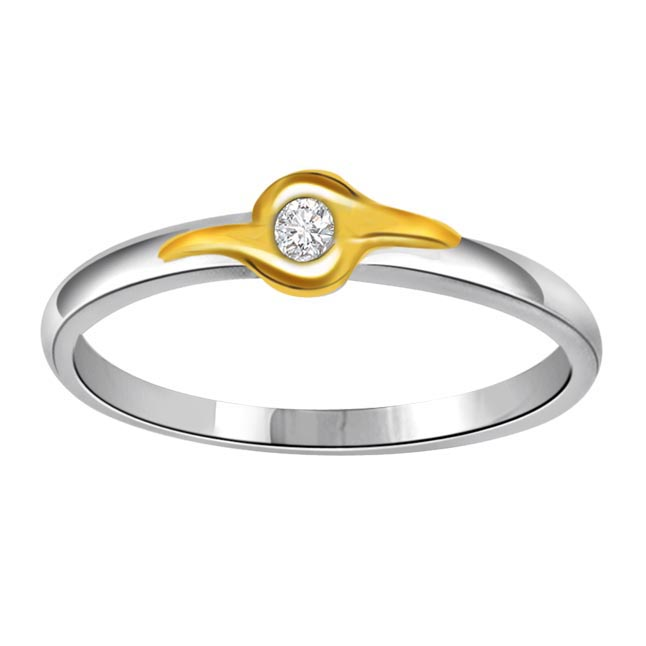 0.04 cts Diamond Solitaire Two Tone rings