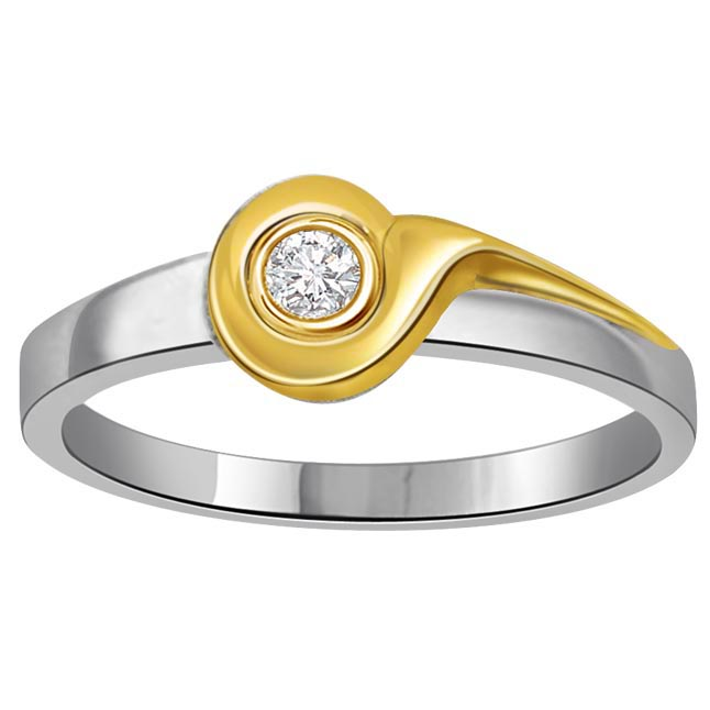 0.05 cts Diamond Solitaire Two Tone 18K rings