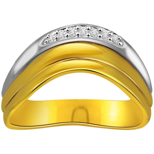 0.08 cts Diamond Two Tone Half Eternity rings -2 Tone Half Eternity