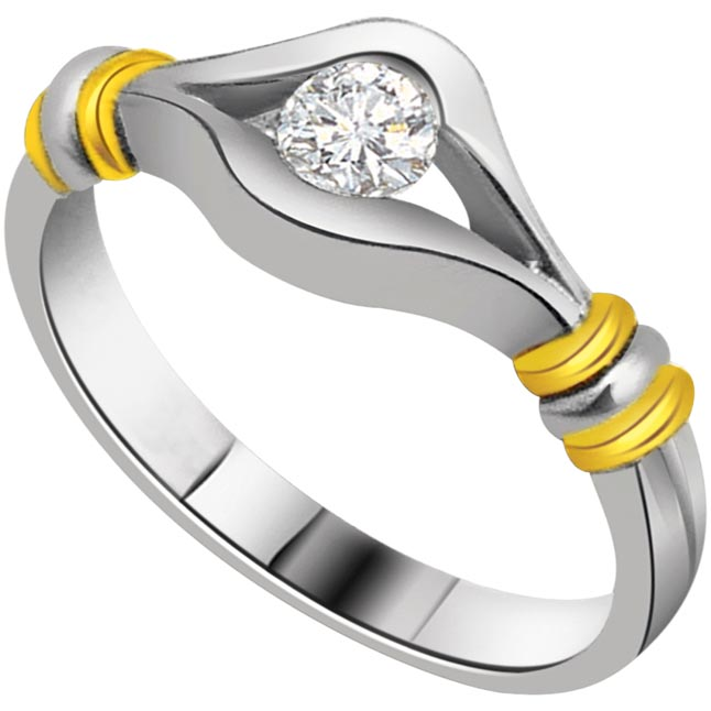 0.08 cts Diamond Solitaire Two Tone rings