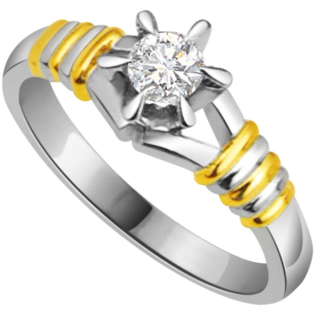 0.20 cts Diamond Solitaire Two Tone rings