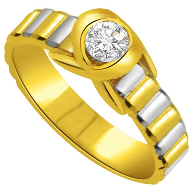 0.05 cts Diamond Solitaire Two Tone 18K Gold rings
