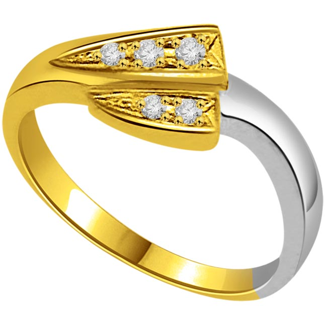 0.05 cts Diamond Two Tone 18K rings -White Yellow Gold rings