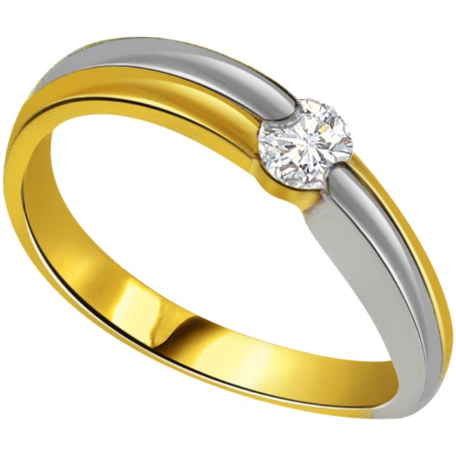 0.08 cts Two Tone 18K Diamond Solitaire rings