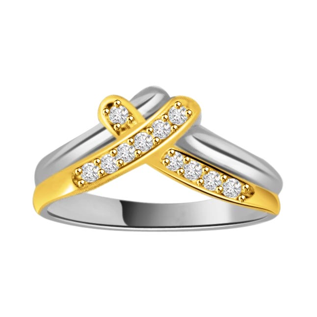 0.11 cts Diamond Two Tone 18K rings -White Yellow Gold rings