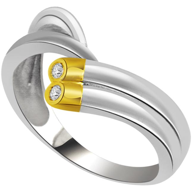 0.05 cts 2 Diamond Two Tone 18K rings