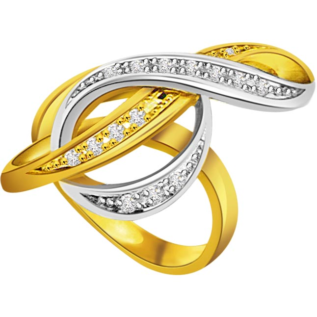 0.10 cts Designer Diamond Two Tone 18K rings -White Yellow Gold rings
