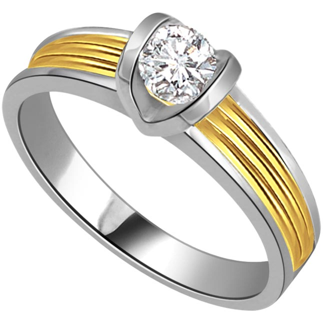 0.07 cts Solitaire Diamond Two Tone 18K Engagement rings