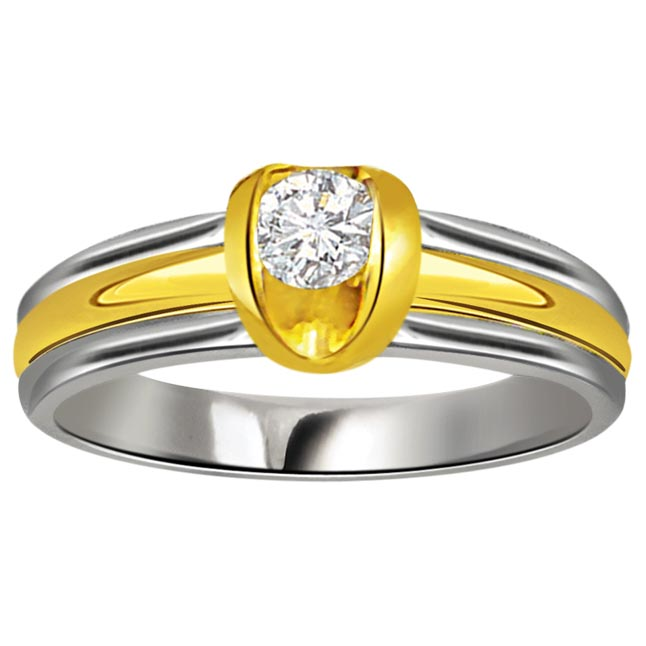 Diamond Two Tone Solitaire 18K rings