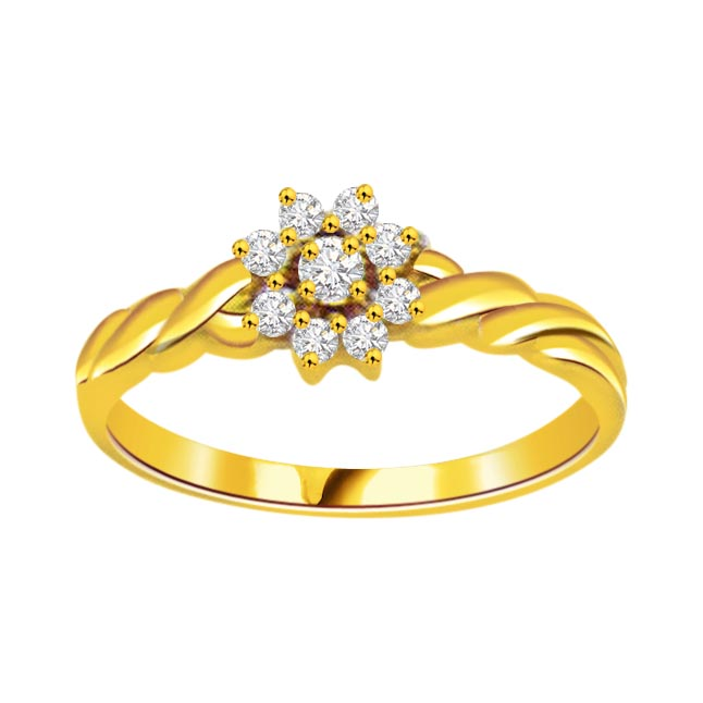 Flower Shape Diamond 18K rings
