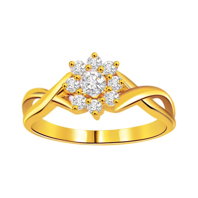 0.25 cts Flower Pattern Diamond 18K rings