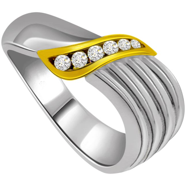 0.12 cts White Yellow Gold Diamond rings -White Yellow Gold rings