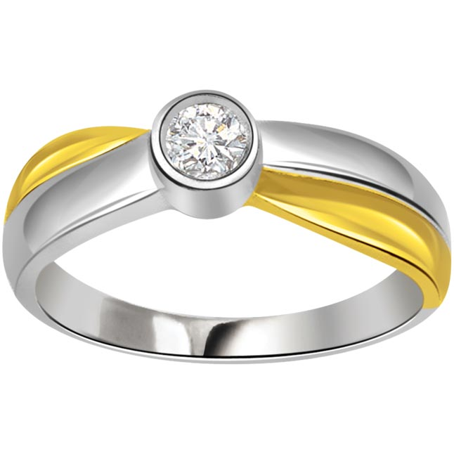 0.15 cts Two Tone Solitaire Diamond 18K rings
