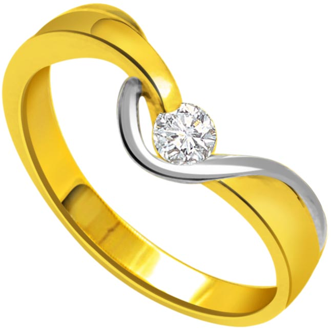 0.04ct Diamond Solitaire Two Tone 18K rings