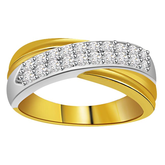 0.20 cts 2 Tone Half Eternity 18K rings -2 Tone Half Eternity