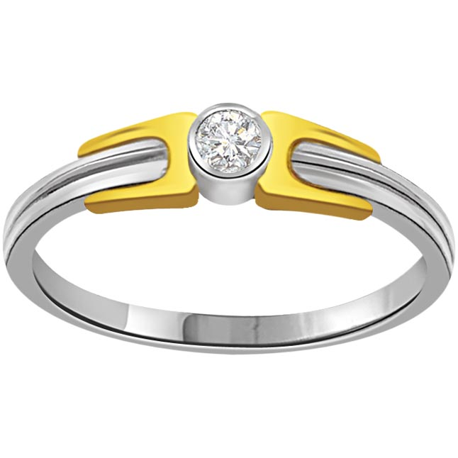 Two Tone 18K Engagement Solitaire Diamond rings