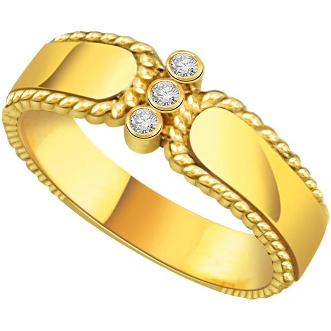 0.08 cts 3 Diamond 18K rings -3 Diamond rings