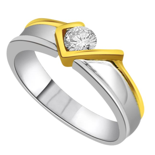 Fancy Solitaire Diamond Two Tone rings