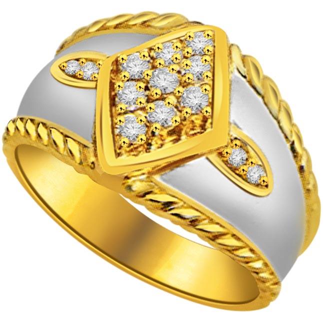 0.15 cts White Yellow Gold Diamond rings -White Yellow Gold rings