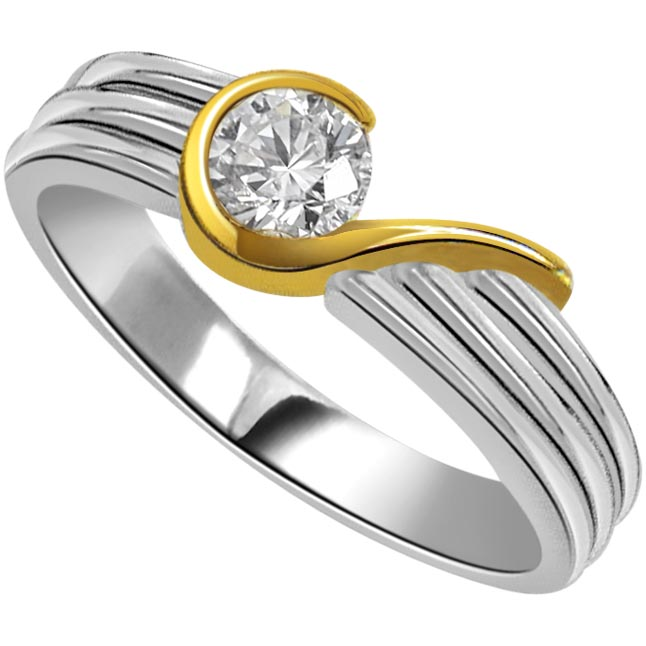 Trendy Solitaire Diamond Two Tone rings