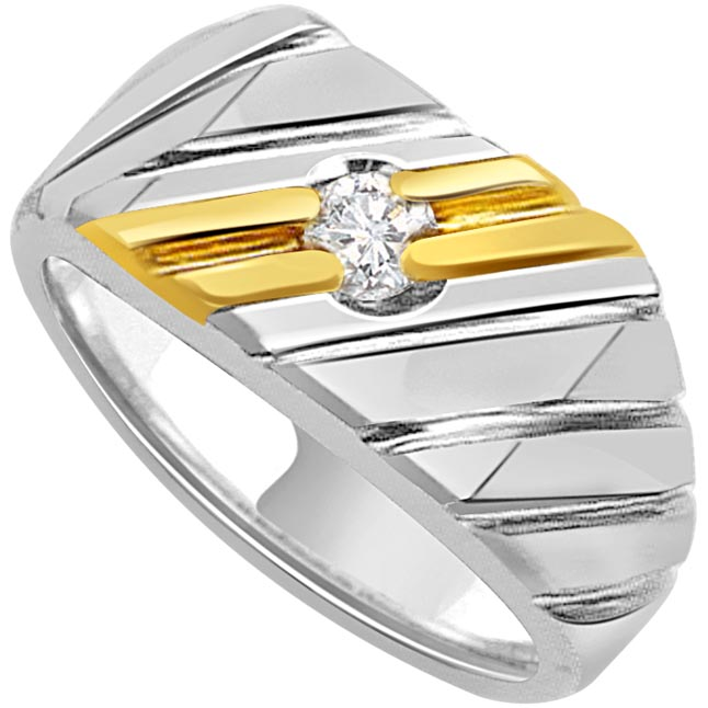 0.05 cts Two Tone Solitaire Mens Diamond rings -Two Tone Solitaire