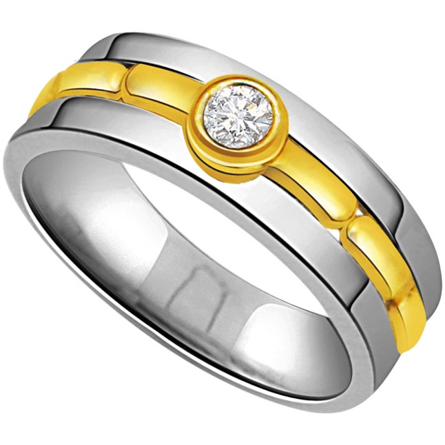 0.05 cts Diamond Solitaire Two Tone 18K Mens rings -Two Tone Solitaire