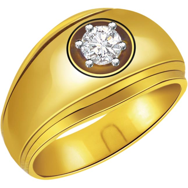 0.12 cts Solitaire 18K Yellow Gold Mens Diamond rings -Solitaire rings