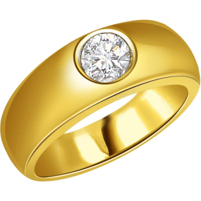 0.12 cts Solitaire 18K Gold Mens Diamond rings -Solitaire rings