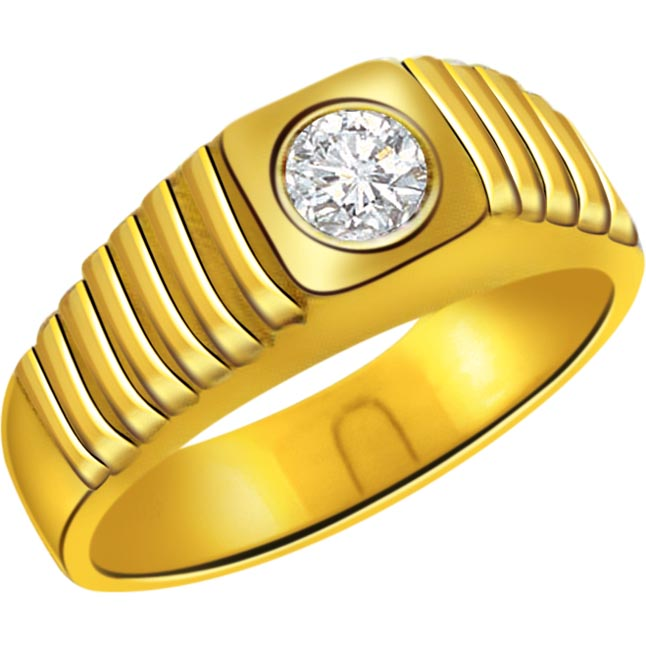 0.12 cts Solitaire 18K Mens Diamond rings -Solitaire rings