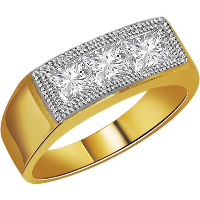 0.21 cts 3 Diamond 18K Mens rings -3 Diamond rings