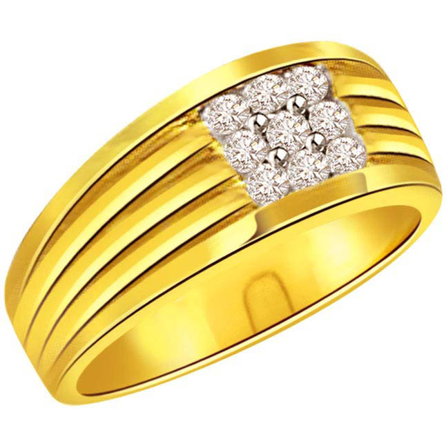 0.25 cts Diamond 18K Gold Mens rings