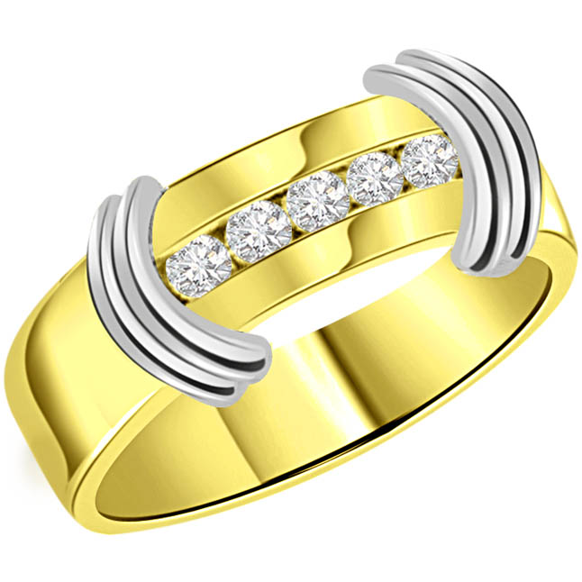 0.15 cts Diamond Two Tone 18K Mens rings