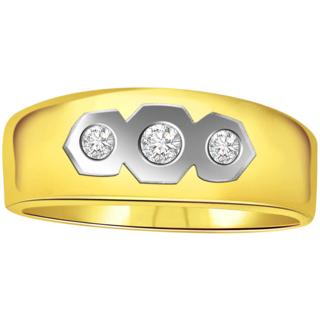 0.10 cts 3 Diamond 18K Mens rings -3 Diamond rings