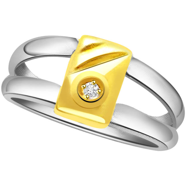 Diamond Two Tone 18KT Solitaire rings
