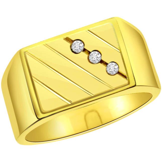 0.10 cts 3 Diamond Mens 18K rings -3 Diamond rings