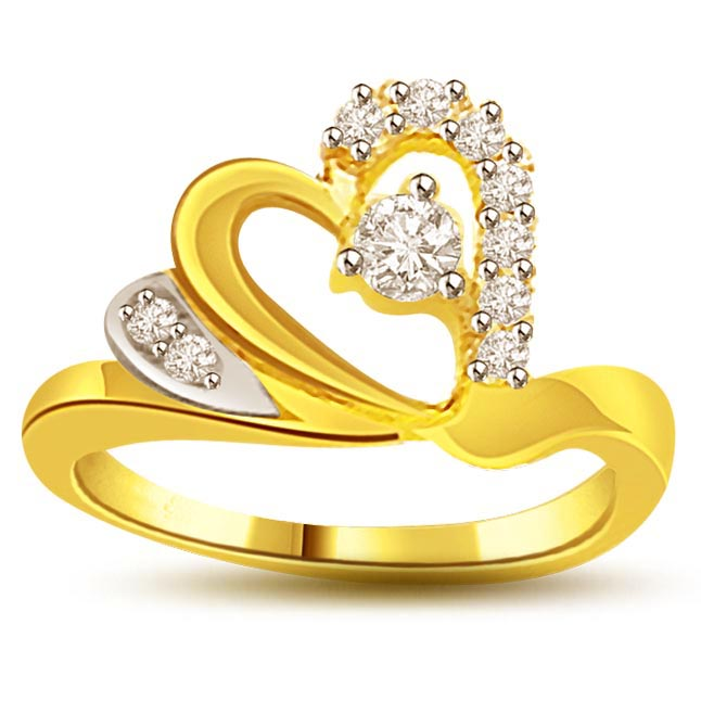 0.25 ct Heart Shape Diamond Two Tone 18KT rings