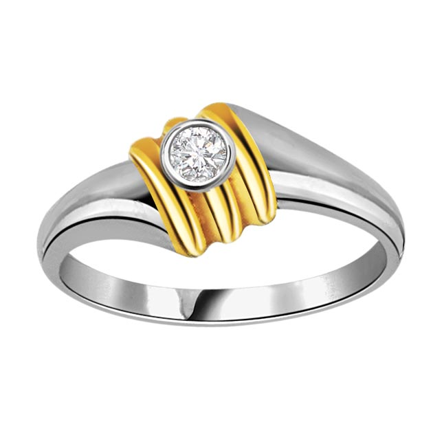 0.09 ct Diamond Solitaire Two Tone 18K rings + Free 7 Sets