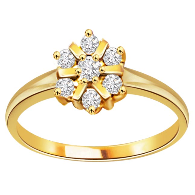 Golden Diamond Flower Fine 0.75 ct Flower Shape Diamond rings