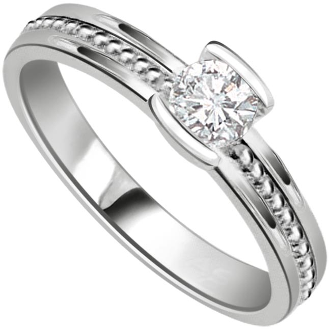 Soulmate Glitterings Star 0.25 ct Diamond Solitaire rings -White Gold Big Sol