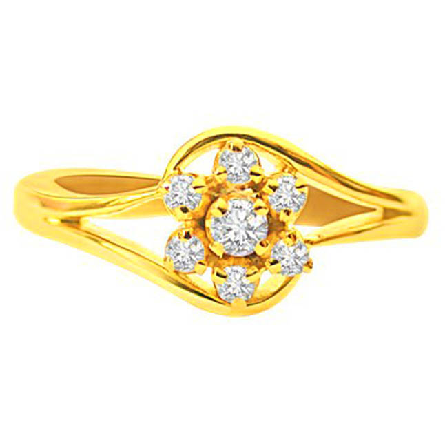 Wonderful Love Real Diamond Flower Shaped rings