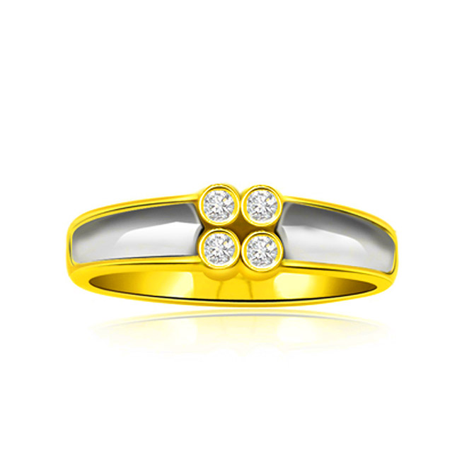 Bond of Diamonds Trendy 0.12 ct Two Tone Diamond rings -White Yellow Gold rings