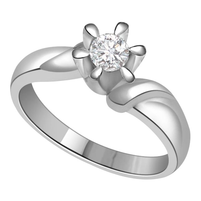 0.35 ct Diamond Flower Shape rings SDR343 -White Gold Big Sol