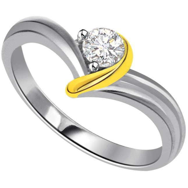 0.25ct Diamond Two Tone Solitaire rings
