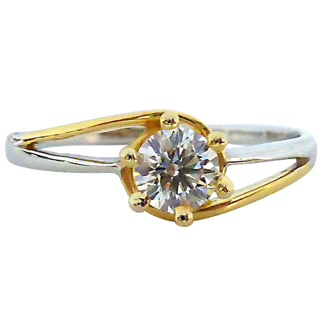 0.15ct Diamond Two Tone Solitaire rings