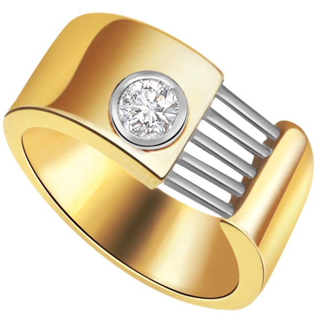 Fine 0.20 ct Diamond Men's Solitaire rings -Two Tone Solitaire