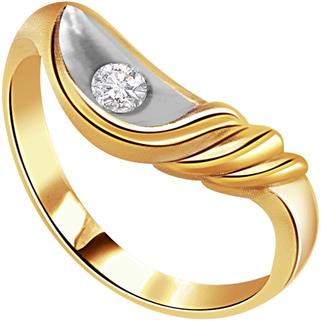 0.20 ct Diamond Two Tone Solitaire rings SDR373