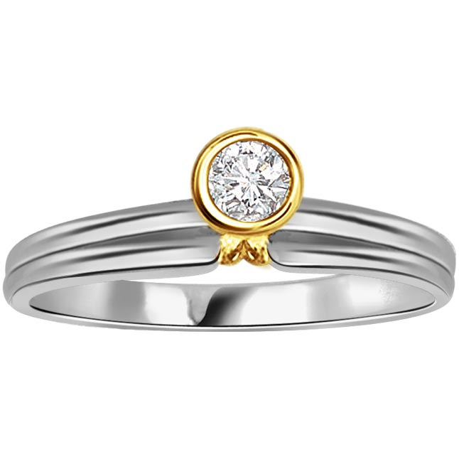 0.20 ct Diamond Two Tone Solitaire rings SDR374