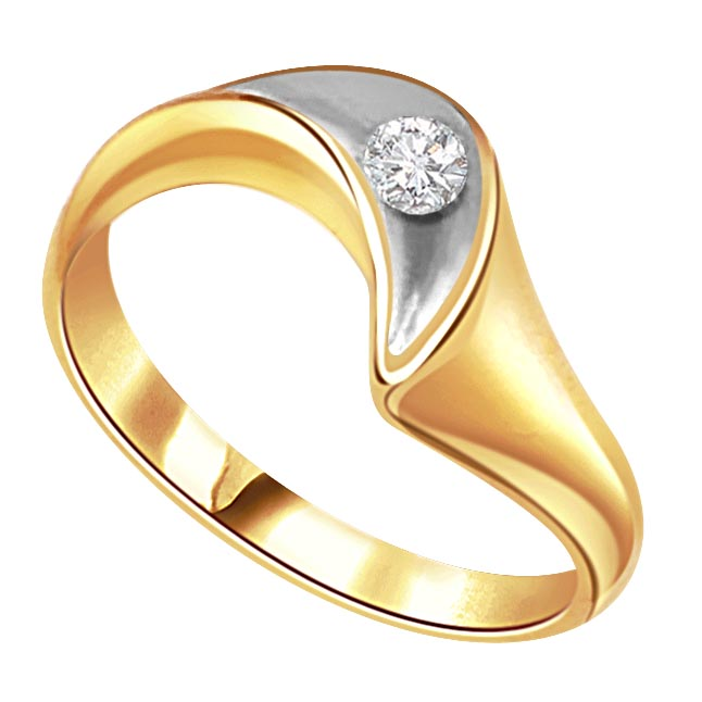 0.25 ct Diamond Two Tone Solitaire rings SDR391