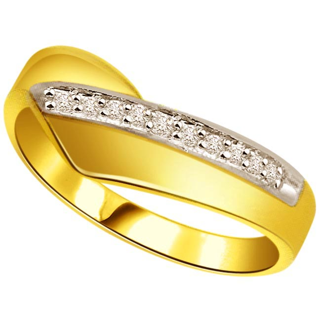 0.12 ct Diamond Two Tone rings -White Yellow Gold rings