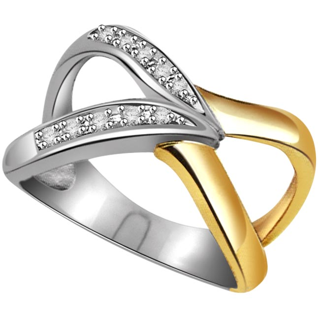 0.20 ct Diamond Two Tone rings -White Yellow Gold rings